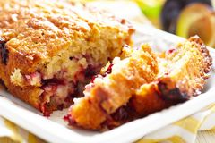 Plum oatmeal cake Stock Photos