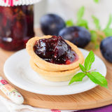 Plum, Orange and Mint Jam in Small Tart Shells (Tartlets) Royalty Free Stock Photography