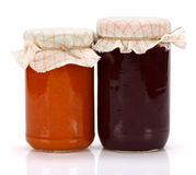 Plum and peach jam in glass jar Royalty Free Stock Photography