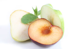 Plum pear apple and mint Stock Photography