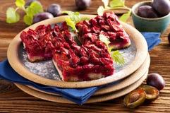 Plum pie. German plum cake zwetschgendatschi on the plate Royalty Free Stock Photography