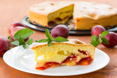 Plum pie and fresh plums Stock Images