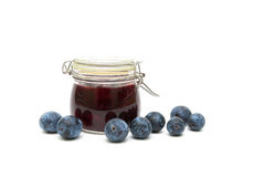 Plum and plum jam  on white background Royalty Free Stock Images