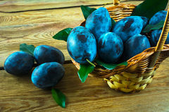 Plum prunes in a basket Stock Photo