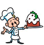Plum pudding cook cartoon illustration Stock Images