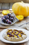 Plum and pumpkin galette Royalty Free Stock Photos
