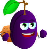 Plum with school bag Stock Images