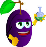 Plum scientist holds beaker of chemicals Stock Images