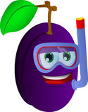 Plum scuba diver Royalty Free Stock Photography
