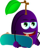 Plum with skateboard Royalty Free Stock Image
