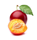Plum with slice Stock Image