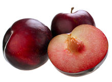 Plum with slice Stock Images