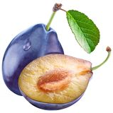 Plum with a slice and leaf. On a white background Royalty Free Stock Image