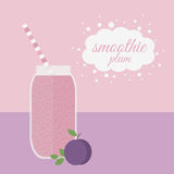 Plum smoothie in jar on a table Stock Images