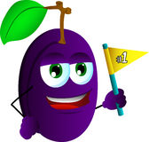Plum sports fan with flag Stock Photography