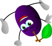 Plum standing on one hand Royalty Free Stock Photo