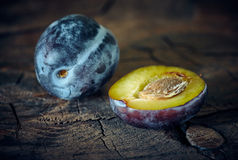Plum still life close-up Royalty Free Stock Photos