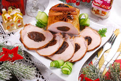 Plum stuffed pork loin for christmas Stock Photography