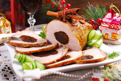 Plum stuffed pork loin for christmas Royalty Free Stock Photo