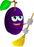 Plum sweeping with broom Royalty Free Stock Photos
