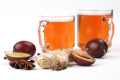 Plum tea with spices Stock Photo