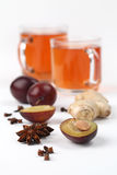 Plum tea with spices Royalty Free Stock Images