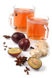 Plum tea with spices Stock Image