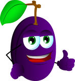 Plum with thumb up Royalty Free Stock Photos