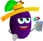 Plum tourist holding a drink Royalty Free Stock Image