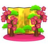 Plum Trees And Gold Folding skärm royaltyfri illustrationer