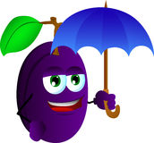 Plum with umbrella Royalty Free Stock Photos
