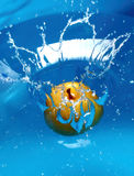 Plum water splash Stock Photo