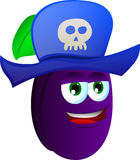 Plum wearing pirate hat Royalty Free Stock Image