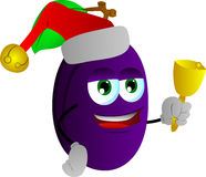 Plum wearing Santa's hat and playing bell Stock Images
