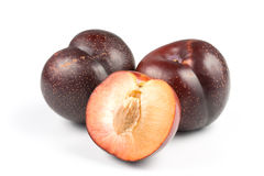 Plum on a white background Stock Photo