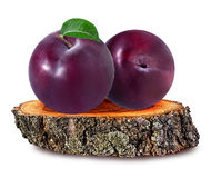Plum  on a wooden сross section of tree trunk isolated on white Stock Photography