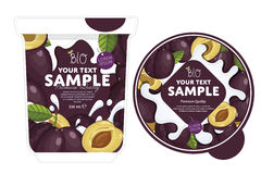 Plum Yogurt Packaging Design Template Fotografia Stock Libera da Diritti