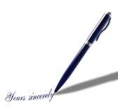 Pluma azul con un mensaje Imagen de archivo libre de regalías