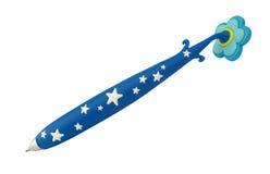 Pluma azul del bolígrafo con las estrellas blancas Imagen de archivo libre de regalías