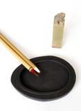 Pluma china en piedra de la tinta foto de archivo libre de regalías