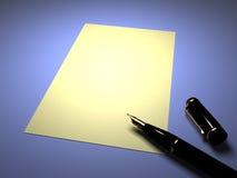 Pluma con una hoja del papel Fotos de archivo