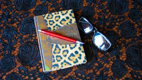 Pluma, cuaderno y vidrios fotos de archivo