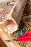 Pluma de canilla y una hoja del papiro Imagen de archivo
