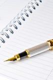 Pluma de la tinta en el cuaderno Fotografía de archivo libre de regalías