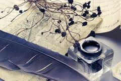 Pluma de la tinta y de la pluma Foto de archivo libre de regalías