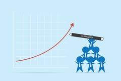 Pluma de tenencia de los hombres de negocios para describir la flecha roja concepto, del trabajo en equipo y del negocio Fotografía de archivo