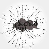Pluma del cepillo del menú de los mariscos Imagenes de archivo