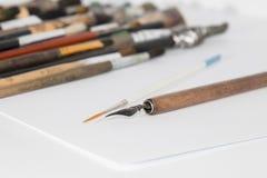 Pluma del cepillo y de la tinta Fotografía de archivo