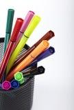 Pluma del color, tenedor de la pluma dentro Foto de archivo libre de regalías
