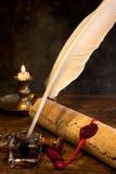 Pluma del sello y de canilla de la cera Fotos de archivo